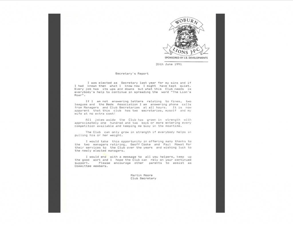 1991 Secretarys report