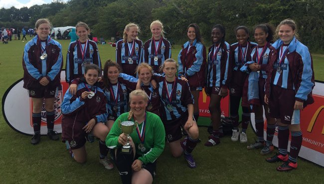 U15 Lionesses celebrate their Runners Up spot at the Beds FA Flitwick Tournament