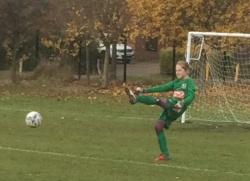 Freya launching the ball back into play