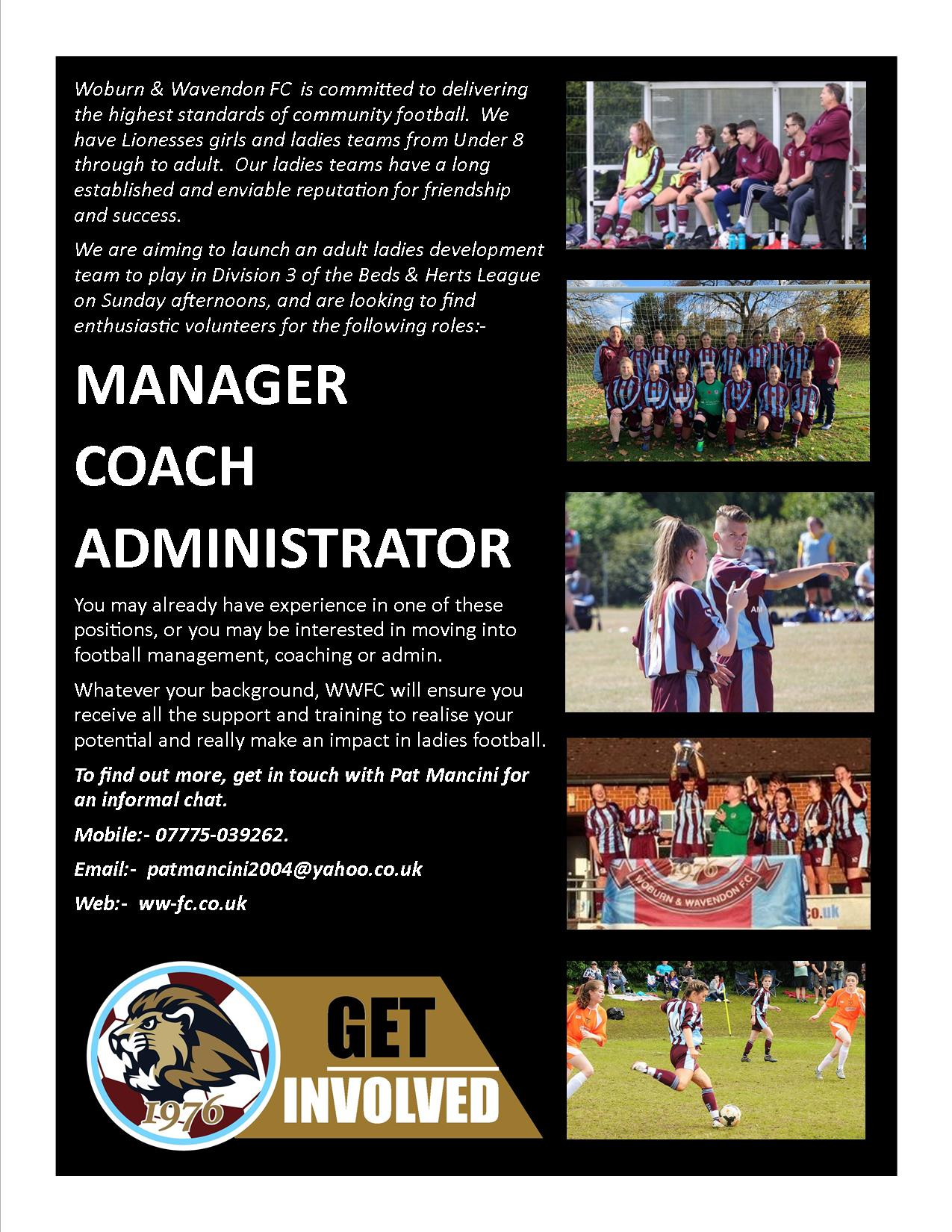 Get Involved! An opportunity to run a new WWFC Women's team. post thumbnail image